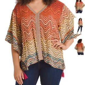 Great Condition! Tassel Weave Print Top